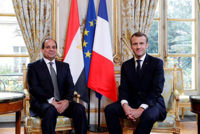 Le président égyptien Abdel Fattah Al-Sissi, lors de sa visite à Paris en octobre 2017, avec Emmanuel Macron, à l'Elysée.