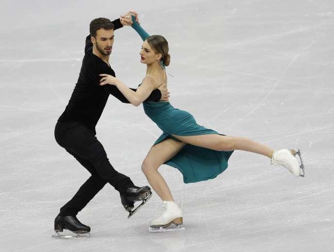 Gabriella Papadakis et Guillaume Cizeron, lors du championnat d'Europe, à Minsk, le 25 janvier.