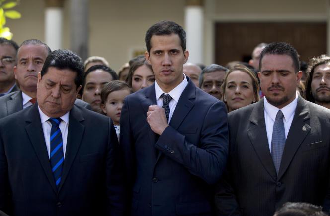 JuanGuaido, le jour de sa désignation à la présidence de l'Assemblée nationale vénézuélienne, àCaracas, le 9 janvier.