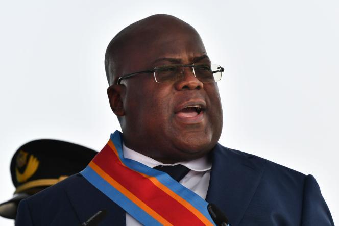 Le nouveau président de la République démocratique du Congo, Felix Tshisekedi, lors de son discours d'investiture, à Kinshasa, le 24 janvier.