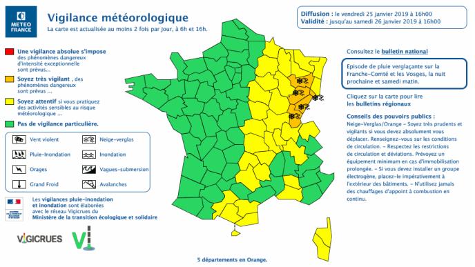 Carte de vigilance météorologique publiée par Météo France, vendredi 25 janvier à 16heures.