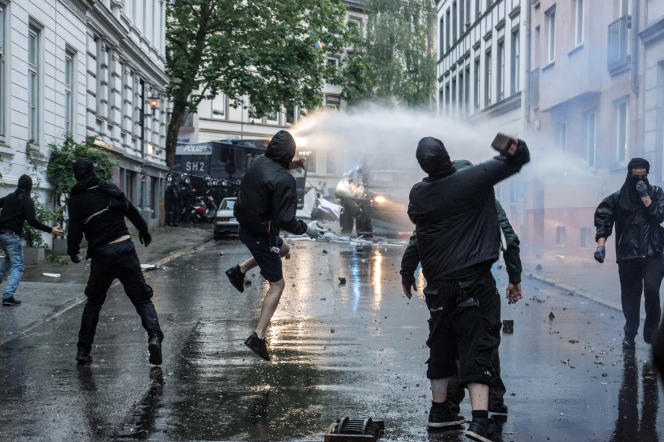 Manifestation contre la tenue du G20 à Hambourg, en juillet 2017.