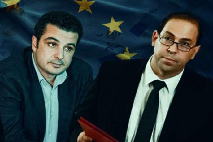Montage photo de Marouane Mabrouk, gendre de l'ancien dictateur Ben Ali, et du premier ministre tunisien, Youssef Chahed. Le gouvernement tunisien demande à l'Union européenne de lever les sanctions qui pèsent sur M. Mabrouk, dont le groupe est un acteur économique important dans le pays.