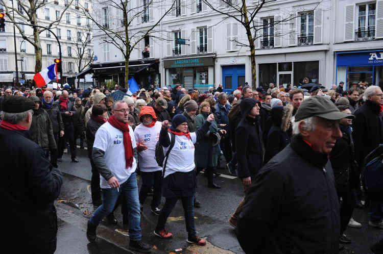 Le cortège de la «Marche républicaine des libertés», à l'approche de la Place de la Bastille, le 27 janvier à Paris.