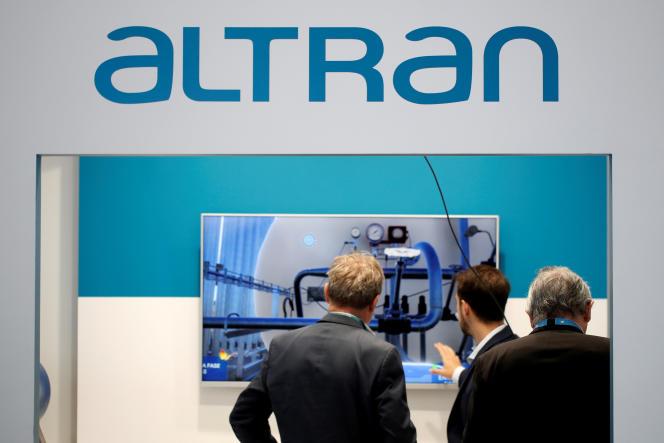 Logo de l'entreprise Altran, à Villepinte, lors du Salon mondial du nucléaire, le 27 juin.