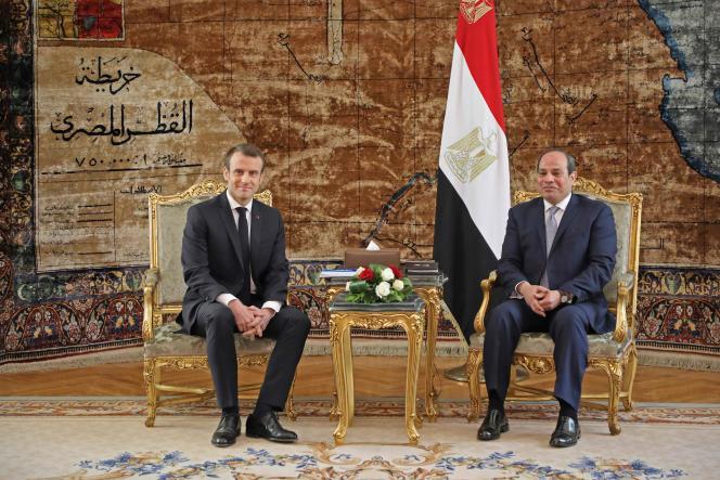 «Rien qu'en 2017, la France a livré à l'Egyptepour plus de 1,4milliard d'euros d'équipements militaires et de sécurité. » (Photo: Emmanuel Macron et Abdel Fattah Al-Sissi, auCaire, le 28janvier.)