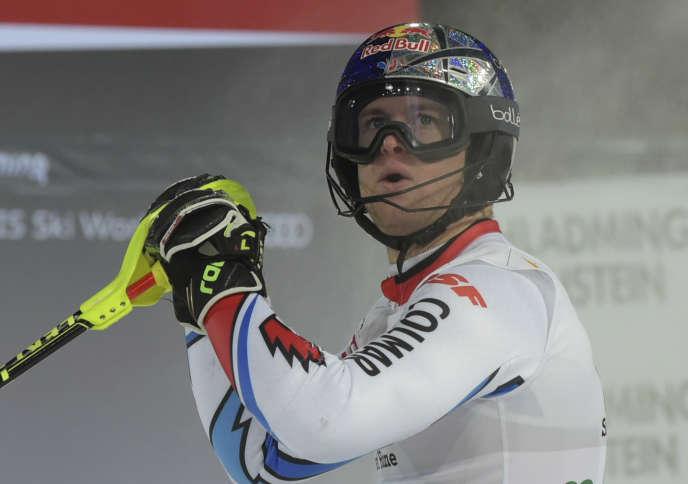 Alexis Pinturault au slalom de Schladming, l'un de ses trois podiums du mois de janvier.