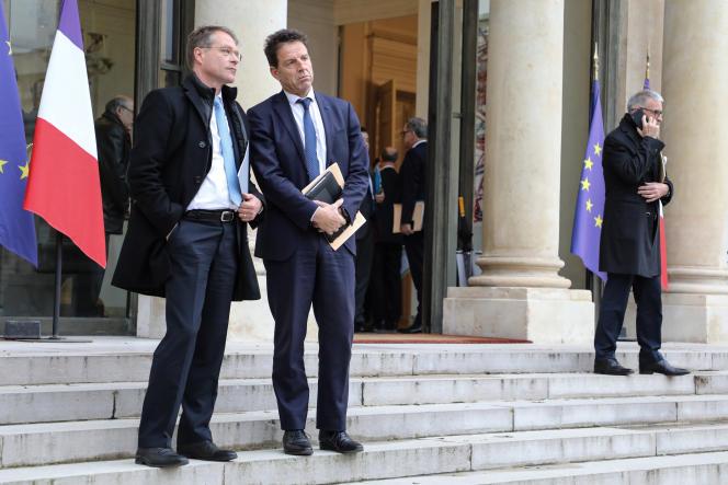 Francois Asselin, président de la CPME (à gauche), et Geoffroy Roux de Bezieux, son homologue du Medef, à l'Elysée, à Paris, le 10 décembre 2018.