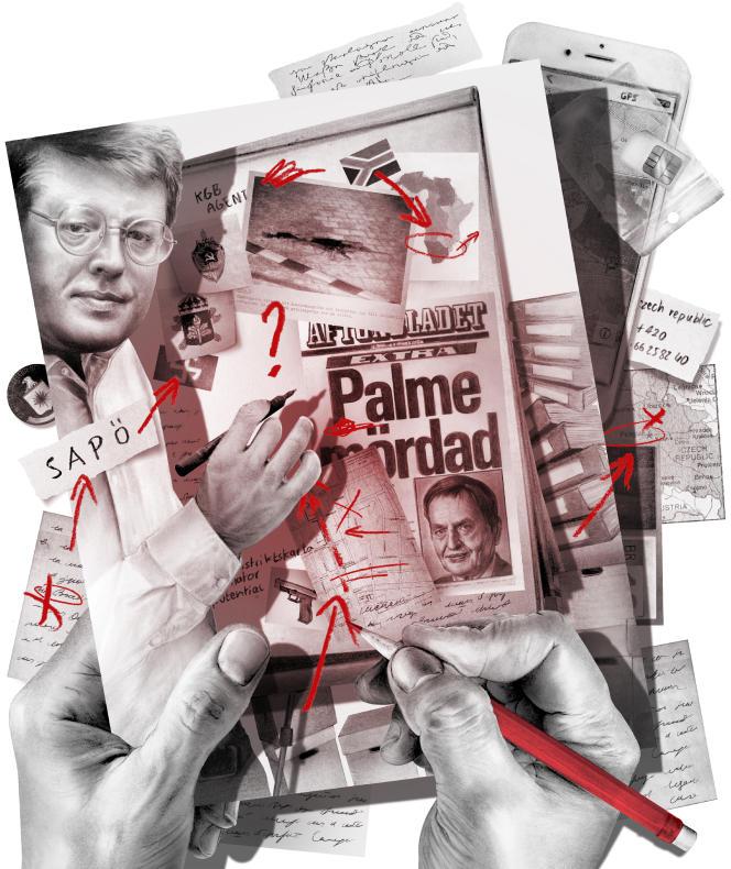Stieg Larsson (en haut à gauche) sur l'«affaire Olof Palme».