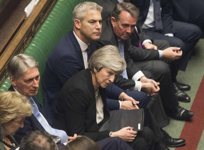La première ministre britannique, Theresa May, après le vote de« l'amendement Brady» sur le Brexit,à la Chambre des communes, le 29 janvier.