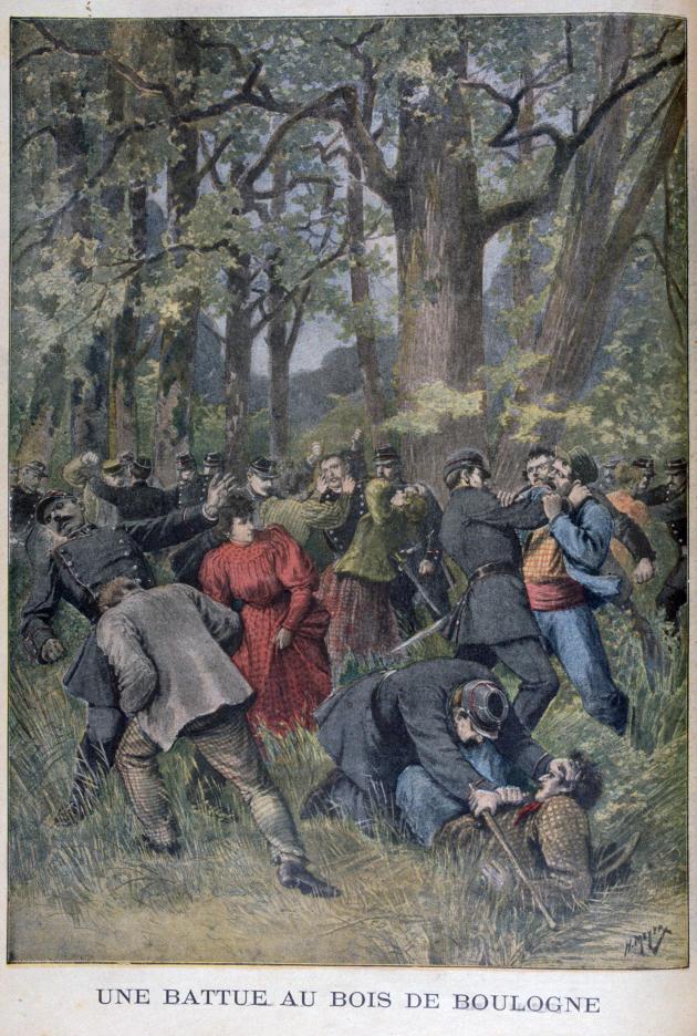 Unebagarre entre gendarmes et civils au bois de Boulogne, rapportée dans le supplément illustré du « Petit Journal», le 14juillet1895 .