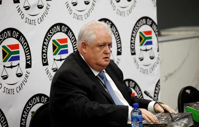 AngeloAgrizzi devantlacommissionZondo, chargée d'enquêter sur la corruption en Afrique du Sud, à Johannesburg, le 28 janvier.