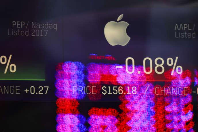 Le signe d'Apple , à New York, le 29 janvier.