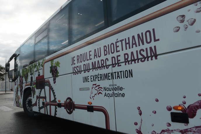 Un bus roulant au bioéthanol issu du marc de raisin a été testé pendant un mois à Mont-de-Marsan, en novembre 2018.