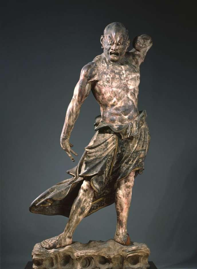 Statue en bois du «kongo rikishi» («agyo»ou à bouche ouverte).