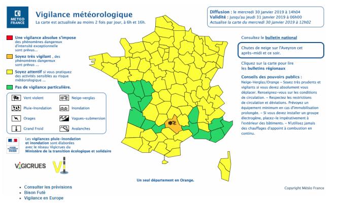 La carte de vigilance météorologique, diffusée le 30 janvier à 14 heures.