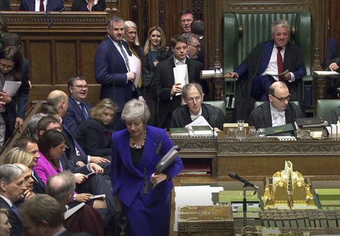 La première ministre britannique, Theresa May, le 30 janvier, à la Chambre des communes.