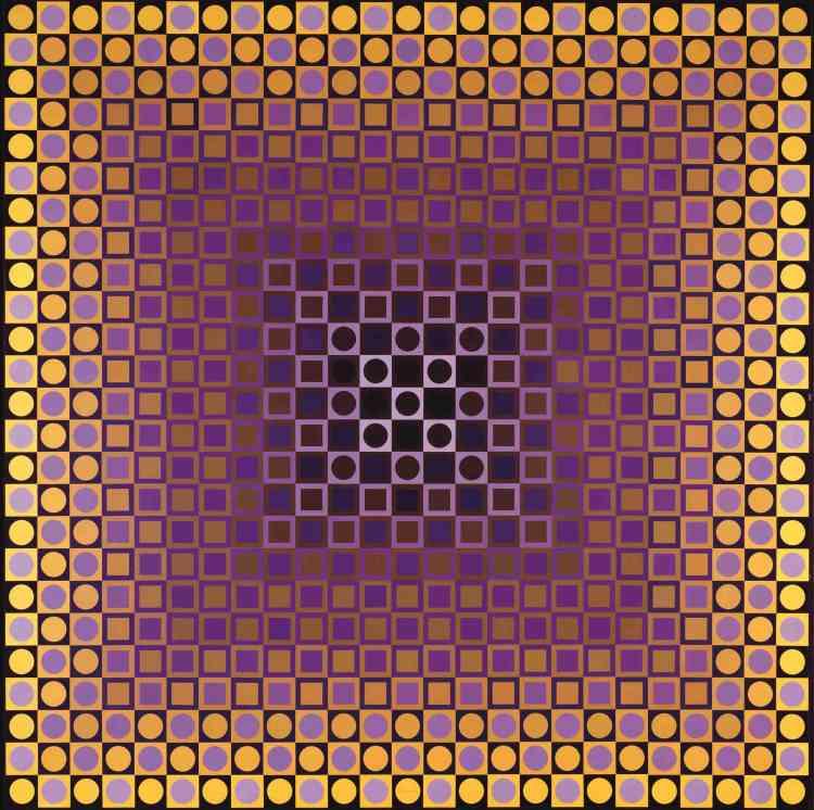"""«La surface de ce tableau n'est pas peinte mais constituée d'une multitude de papiers sérigraphiés agencés les uns avec les autres. La construction par accumulation de ces """"unités plastiques""""dévoile ainsi la pensée additive et permutationnelle, très proche de la logique cybernétique, qui préside à la création chez Vasarely.»"""