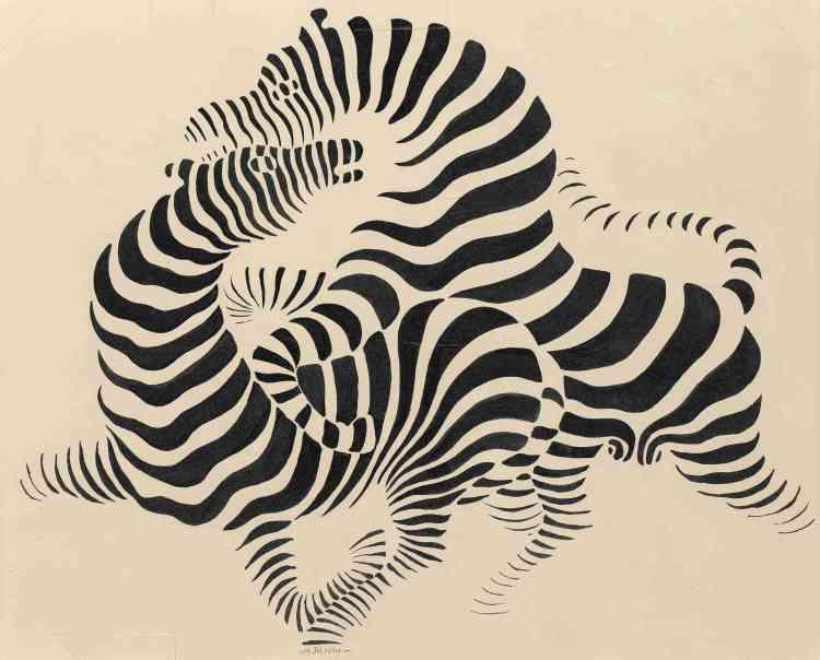 «Conçue dans le contexte d'études graphiques menées par l'artiste en parallèle avec ses travaux de graphiste publicitaire, la série des couples de zèbres fait apparaître les figures grâce à une alternance réglée de bandes noires et blanches. Elles annoncent les jeux du positif et du négatif auxquels Vasarely se livrera à partir du milieu des années 1950.»