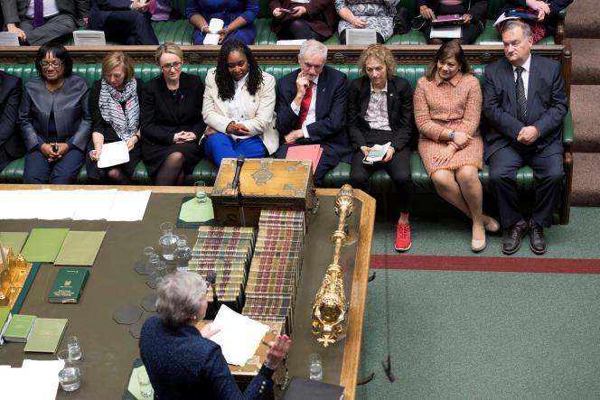 Le leader du Parti travailliste, JeremyCorbyn, lors d'un débat sur l'accord duBrexità la Chambre des communes, le 23 janvier.