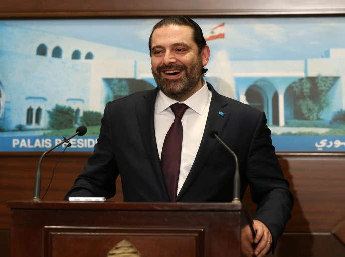 Saad Hariri, jeudi 31 janvier au palais présidentiel libanais de Baabda.