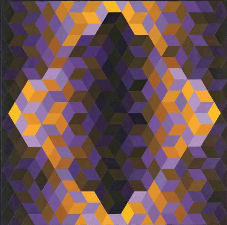 """«Titrée avec le mot hongrois qui signifie """"abeille"""", cette toile consiste en un agencement de plusieurs dizaines de cubes jaunes et mauves représentés en perspective axonométrique [de façon à simuler le volume], que des effets d'ombre et de lumière contribuent à rendre spatialement encore plus ambigus. Une telle peinture détourne le paradigme perspectif classique et amène ainsi la vision à prendre conscience d'elle-même et de ses flottements.»"""
