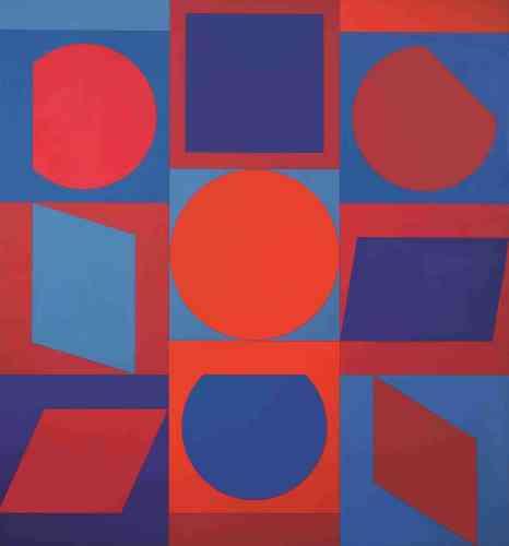 """«A l'orée des années 1960, Vasarely ambitionne de créer un langage visuel à portée universelle à partir de ce qu'il appelle l'""""unité plastique"""" : dans un """"carré-fond"""" d'une couleur donnée, une forme géométrique d'une autre couleur. Un nombre presque infini de combinaisons est permis par ce jeu des formes et des couleurs.»"""