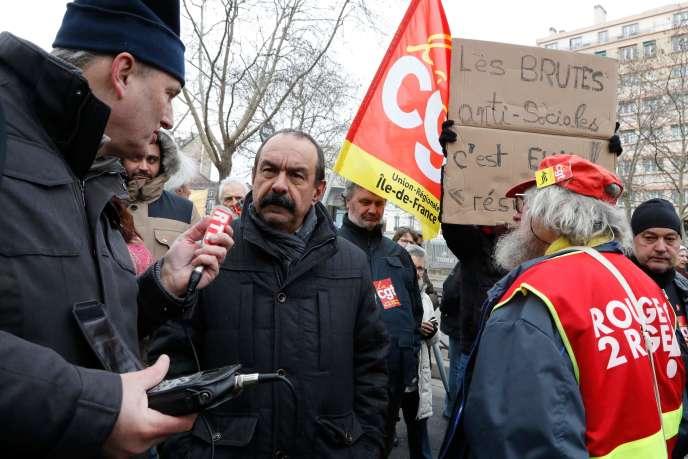 Le secrétaire général de la Confédération générale du travail (CGT), Philippe Martinez, le 31janvier2019, àParis.