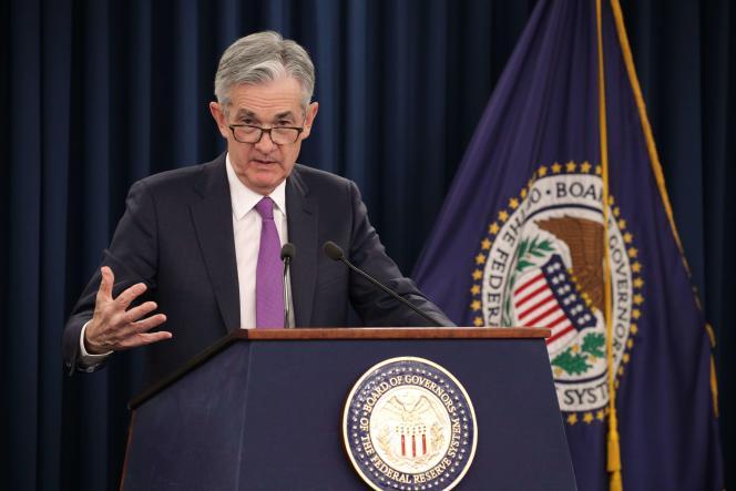 Le président de la banque centrale américaine,JeromePowell, lors de sa conférence de presse du 30 janvier à Washington.