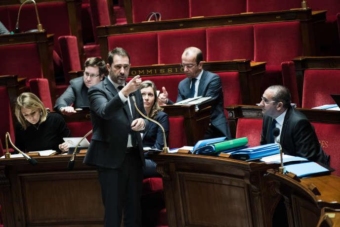 Le ministre de l'intérieur, ChristopheCastaner, lors de la discussion surla loi«anticasseurs», à l'Assemblée nationale, le 30 janvier.