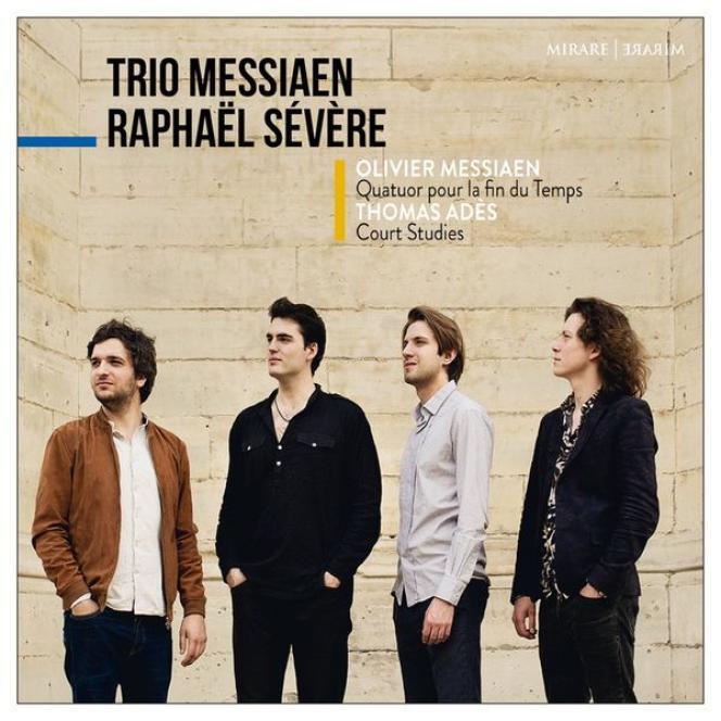 Pochette de l'album«Quatuor pour la fin du temps, d'Olivier Messiaen etCourt Studies from The Tempest, de Thomas Adès», deRaphaël Sévère et le Trio Messiaen.