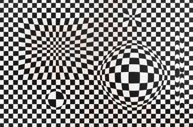 «Ici, c'est la grille chérie de l'abstraction moderniste qui se dilate ou se contracte. Ses lignes s'étirent jusqu'à former des excroissances ou des dépressions à la surface de l'œuvre. Selon l'artiste, cette onde qui creuse ou qui boursoufle la grille, parviendrait à faire sentir comment la matière-énergie déforme l'espace.»