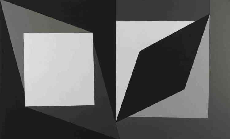 """«En observant la clarté intense qu'apporte dans la pénombre de sa maison de Gordes un fenestron carré, Vasarely comprend que la même découpe, vue de l'extérieur, délimite une forme noire. C'est ce carré, à la fois noir et blanc, les deux extrêmes de l'absolu suprématiste, que Vasarely reprend dans son """"Hommage à Malévitch"""", pour aussitôt le mettre en mouvement: tournant sur sa pointe, il devient losange.»"""