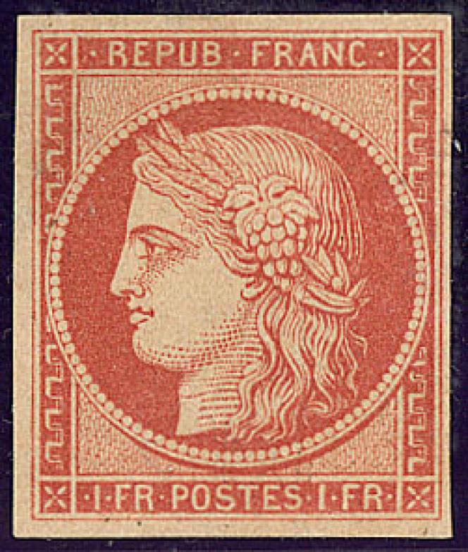 1 franc vermillon dit« Vervelle», 30000 euros chez Roumet.