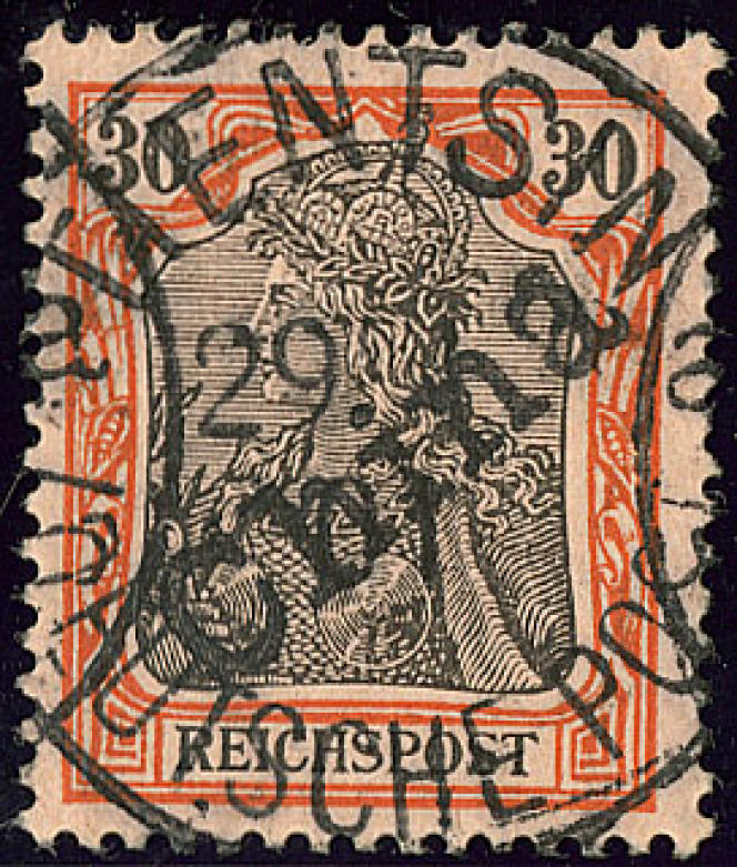 2200 euros minimum pour ce timbre allemand utilisé en Chine.