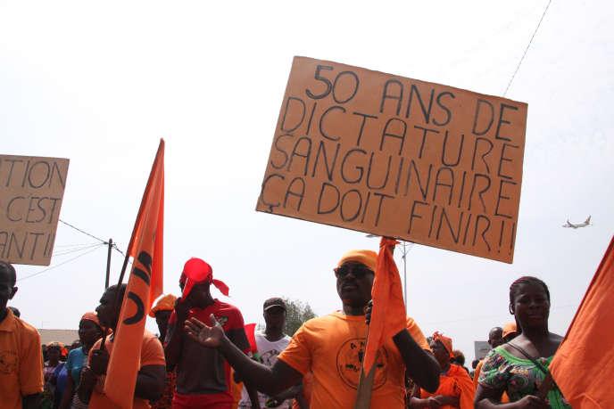 Manifestation contre le régime de Faure Gnassingbé, le 26 janvier 2019. L'opposition accuse le parti présidentiel de« coup de force électoral» après les législatives du 20 décembre 2018.