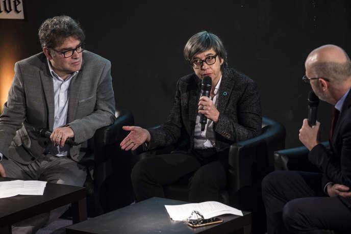 Catherine Guillouard, PDG de la RATP, était invitée du Club de l'économie du« Monde» jeudi 31 janvier Elle est entourée d'Eric Béziat, journaliste spécialiste des transports (à gauche sur la photo), et de Philippe Escande, éditorialiste.