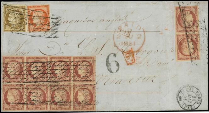 1 franc carmin bloc de 8 + 1 paire + 10c. et 40c. Cérès obl. grille sans fin sur lettre frappée du cachet à date de Paris du 31 mai 1851, à destination de Vera Cruz, au Mexique, 7e échelon de poids, pour les amateurs: 30000 euros minimum.