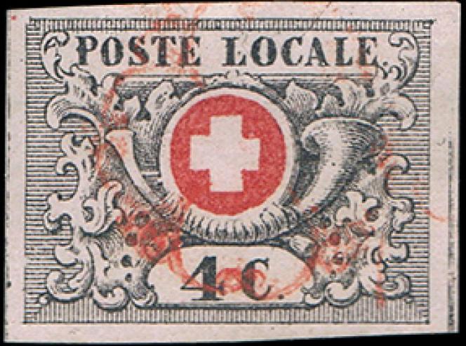 Suisse,4 c., canton de Vaud, oblitération rosette rouge de Genève, 12000 euros