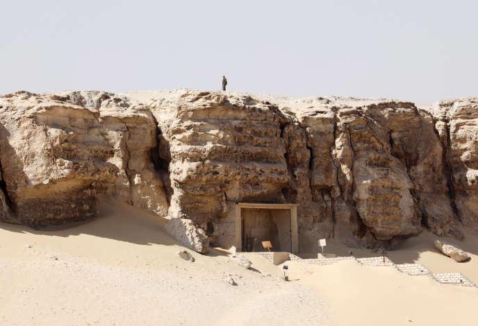 L'entrée du site archéologique de Tuna El-Gebel, dans la provinde de Minya, le 2 février.