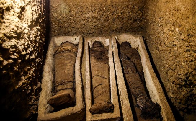 Certaines des momies découvertes dans un tombeau dans la province de Minya, au sud du Caire, en Egypte, le 2 février.