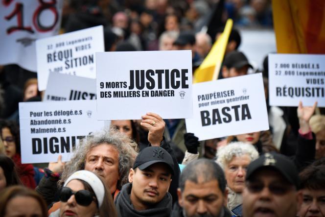 Plusieurs milliers de personnes ont manifesté contre l'habitat indigne, à Marseille, le 2 février.