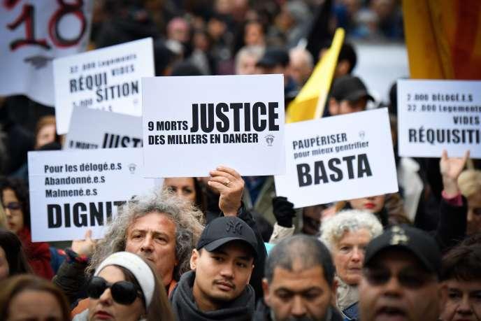Des manifestants contre l'habitat indigne, samedi 2 février 2019 à Paris.