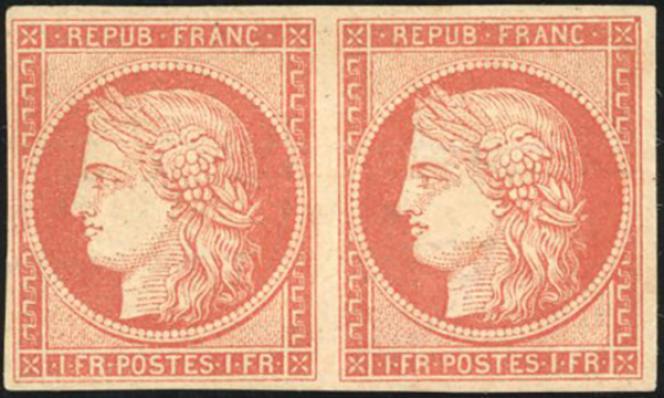 Paire neuve du 1 franc vermillon« Vervelle», prix de départ 35000 euros chez Behr.