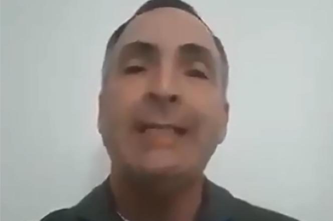 Capture d'écran de la vidéo diffusée par le général Francisco Yanez, qui reconnaît l'autorité de Juan Guaido, le 2 février.