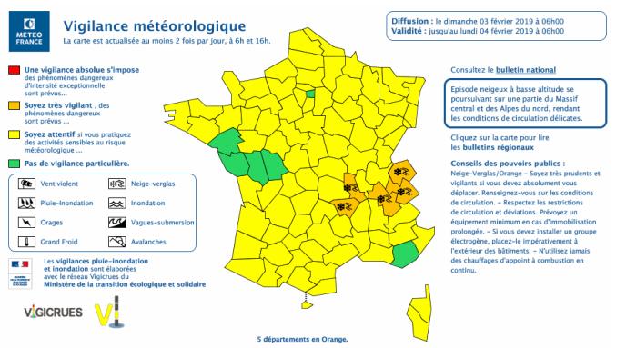 Carte de vigilance météorologique de Météo France du dimanche 3 février à 6 heures