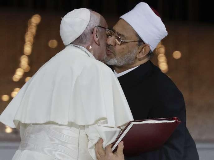 Le pape François et l'imam Ahmed Al-Tayeb, à Abou Dhabi, le 4 février.