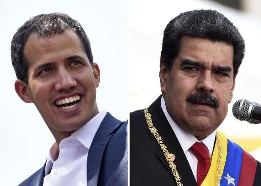 Juan Guaido, autoproclamé président du Venezuzla par intérim (gauche)et Nicolas Maduro.