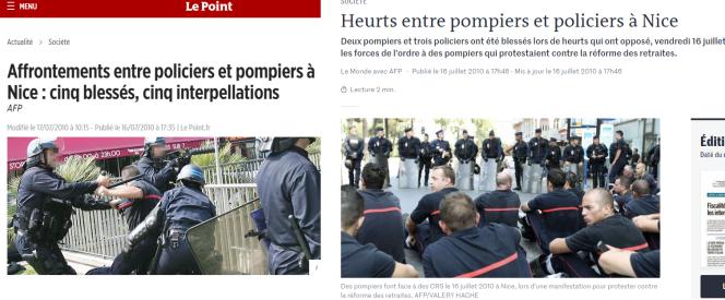 Des articles, notamment du «Point» et du «Monde», mentionnaient le16juillet2010 des heurts entre pompiers et policiers à Nice.