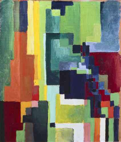 Tenté par l'expérience de la couleur et par des compositions géométriques, August Macke prend ses distances avec la scène munichoise.En avril 1914, durant son voyage en Tunisie avec son ami Paul Klee, il opte pour «une transcription lumineuse, gracieuse et orphiste des paysages».